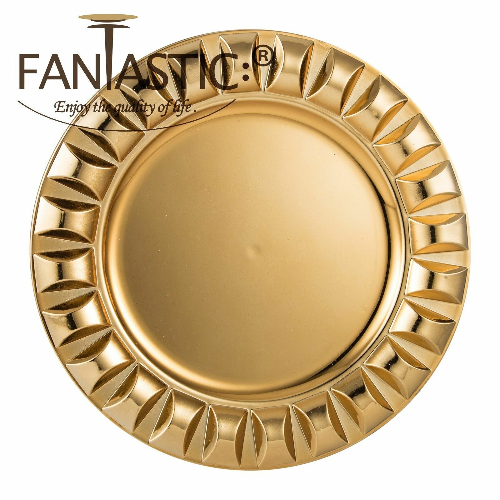 Fantastic )™ Round 13Inch Charger Plate With Shiny Finish ( Beaded Pattern )