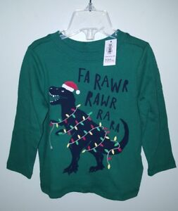 NEW-Old-Navy-Boys-18-24-MONTHS-Long-Sleeve-Christmas-Shirt-DINOSAUR-Tee-104218