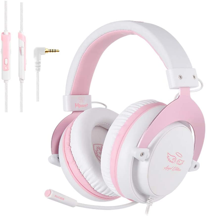 [Angel Edition] SADES MPOWER 3.5mm Gaming Headset, Over-Ear Headphones PINK