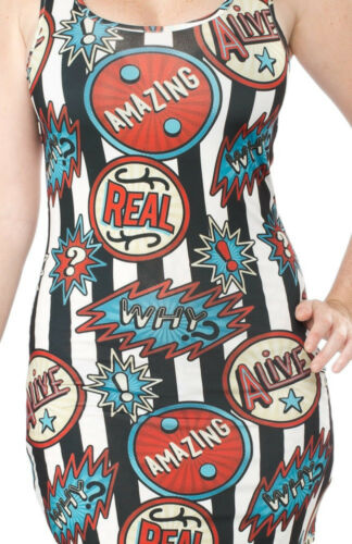 130294 Striped Welcome to the Sideshow Circus Retro Dress Sourpuss Punk LARGE L