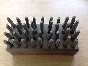 """Vintage Metal Punche Stamps Model Mark 3mm 1/8"""" Letter Number Set Hardwood Stand"""