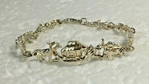 Vtg-NOAHS-ARK-Solid-Sterling-Silver-link-7-5-034-Bracelet-925-golden-BIBLE-animals