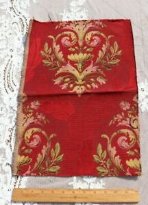 Antique-c1900-French-Cotton-Jacquard-Tapestry-Sample-Fabric-Cherry-Red-18-034-X12-034