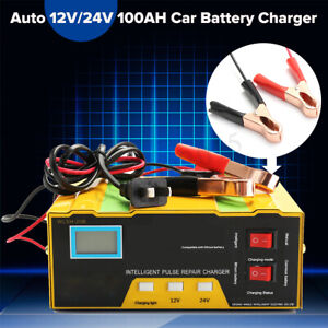 Details about Auto Car 12V/24V 100AH Charger Type For Lead Acid & Lithium  Battery Pulse Repair