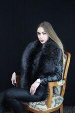 Dyed Silver Fox Fur Collar ~60 inch Stole Saga Furs Boa Collar Wrap Dark Gray