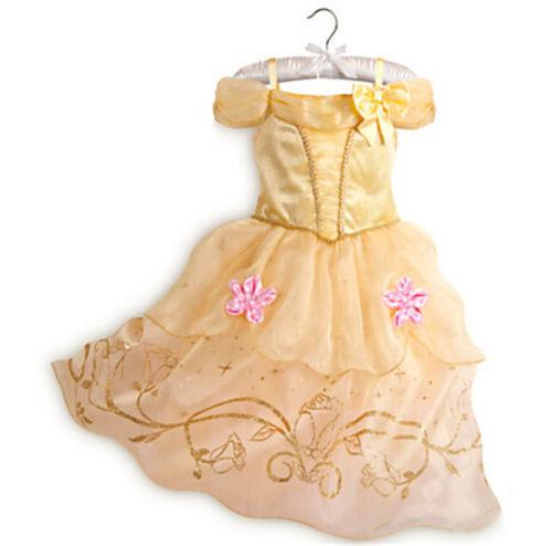 Kids Girls Princess Costume Fairytale Dress Up Belle Cinderella Rapunzel Aurora