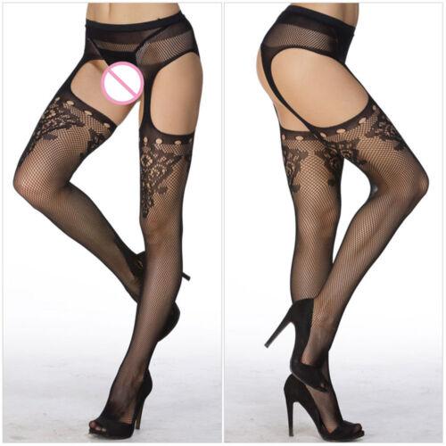 79# Netz Straps Strumpfhose m Taillenhalter Dessous Strümpfe Stocking Pantyhose