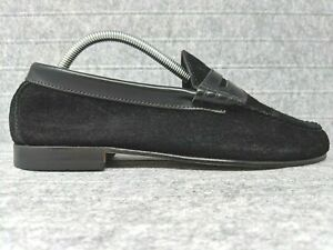 GH Bass Weejuns Black Suede Slip On Penny Loafers Shoes ...