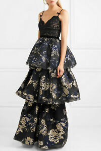 Details About 1195 New Marchesa Notte Tiered Corded Lace Brocade Gown Black Navy Gold 16