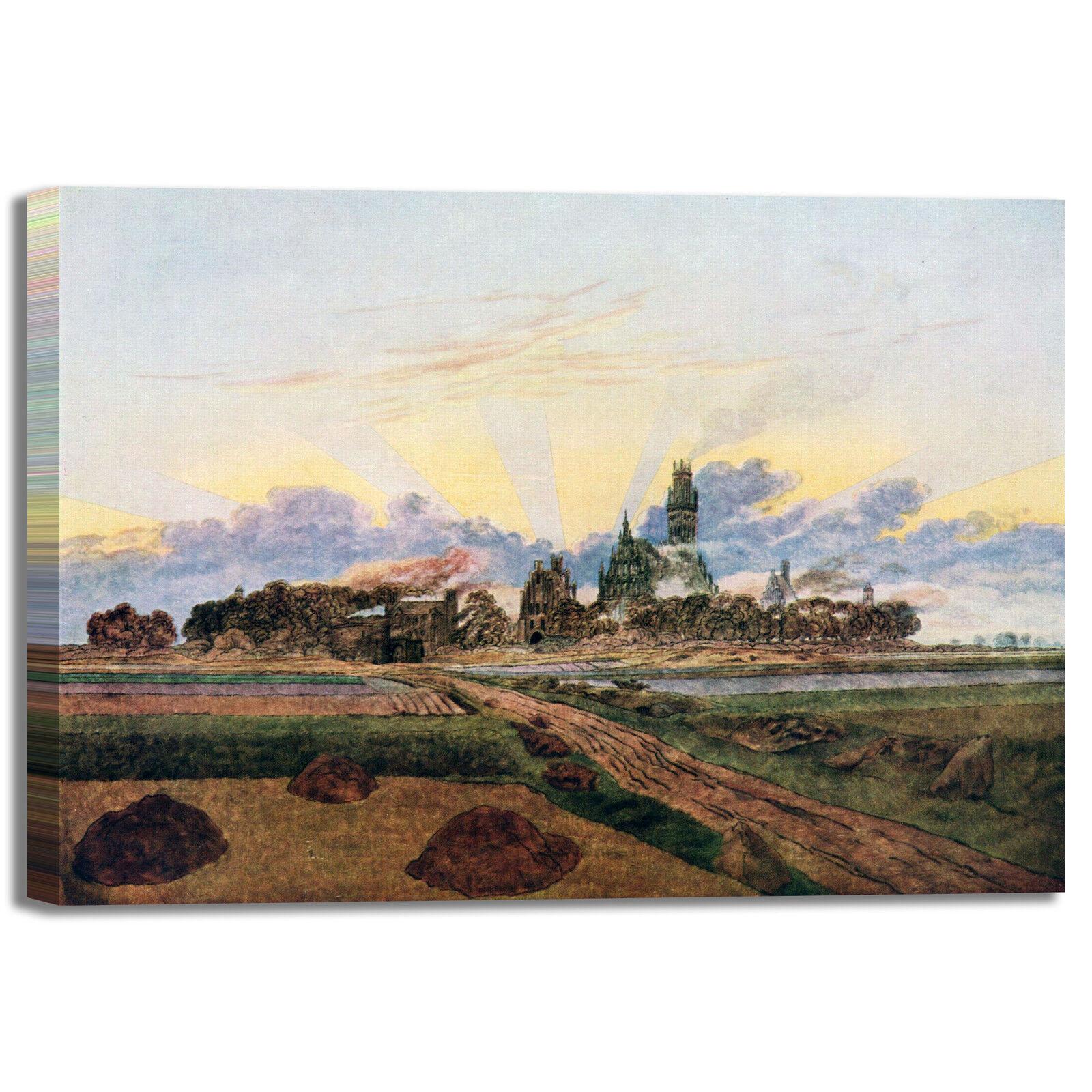 Caspar Neubrandenburg in fiamme quadro stampa tela dipinto telaio arroto casa