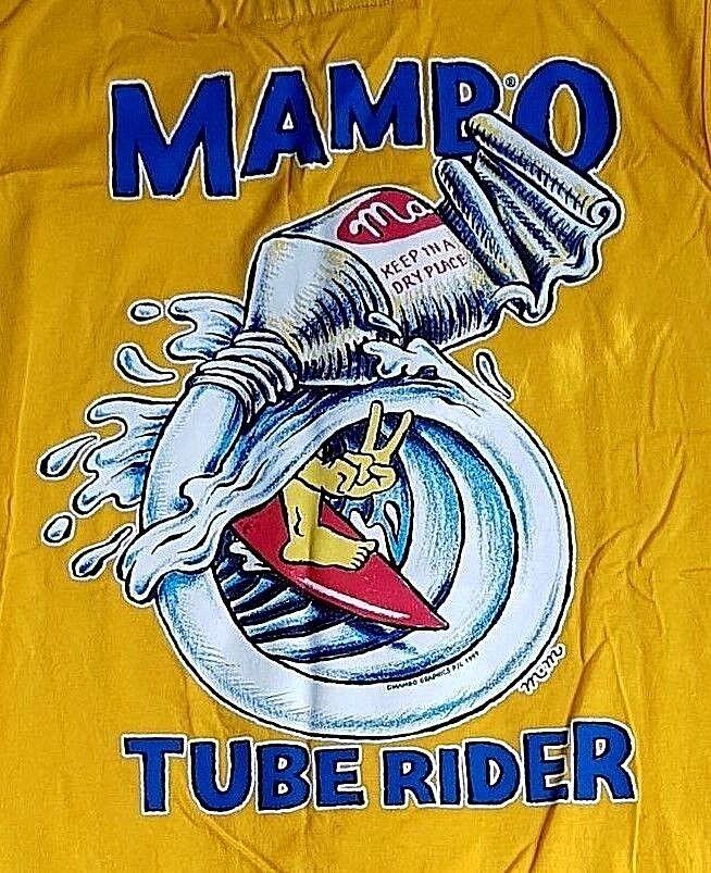 MAMBO XXL YELLOW MUSCLE LOUD T-SHIRT TUBE RIDER MATTHEW MARTIN SURF CULTURE