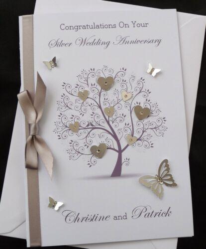 PERSONALISED A5 Handmade  SILVER WEDDING Anniversary or WEDDING  Card 1583S