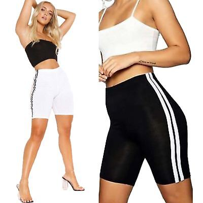 Ladies Womens Stretchy Striped Lycra Cycling Short Active Sports Leggings Pants Gute QualitäT