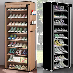 27-PAIR-10-TIER-DUSTPROOF-SHOES-CABINET-STORAGE-ORGANISER-SHOE-RACK-STAND-CABINE
