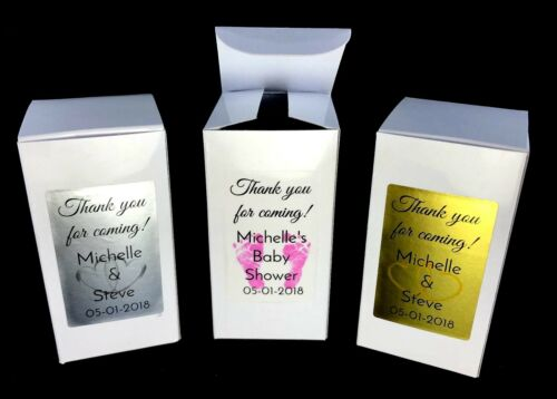"""18 PERSONALIZED 2/""""x2/""""x4/"""" WHITE GLOSS GIFT BOXES with SILVER//GOLD FOIL DECORATION"""