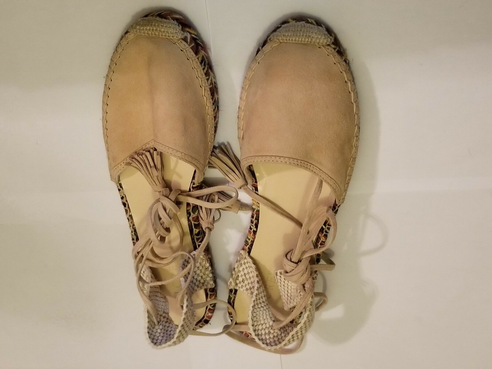 J.CREW NWT Baja LEATHER & Suede Espadrilles shoes Flats Size 10 desert canyon