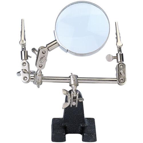 Löt-und Montagehilfe mit 3-fach-Vergrößerungsglas Metall Dritte Hand
