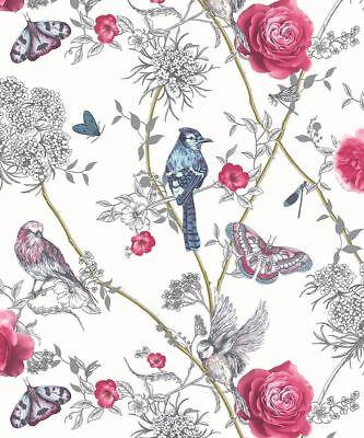 Glitter Butterfly Bird Arthouse Fantasia Paradise Garden Lilac Wallpaper 692404