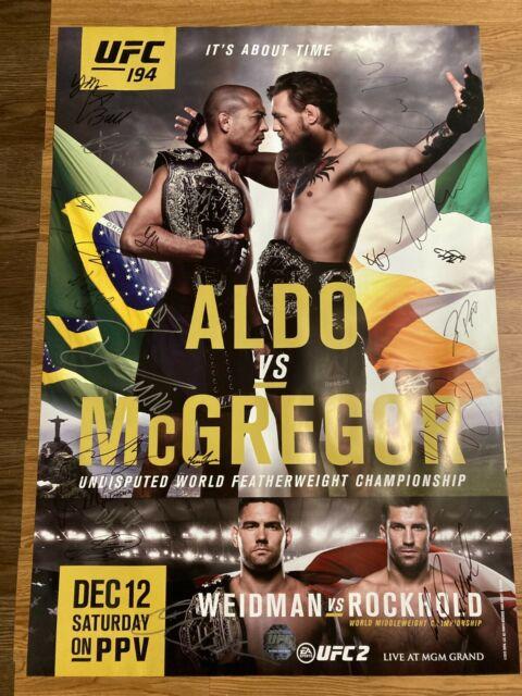 Ufc 194 Autographed Poster W/ Conor Mcgregor, Aldo, Rockhold, Weidman #61 of 125