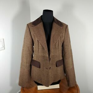 Esprit-Size-Medium-Women-039-s-Brown-Plaid-Blazer-Equestrian-Elbow-Patches-Career