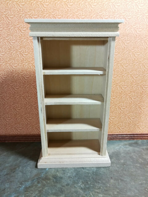 Dollhouse Miniature Unfinished Bookshelf 4 Shelves 112 Scale Bookcase