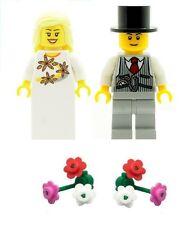 LEGO Wedding Bride & Groom Minifigures with 2 Boquets of Flowers NEW