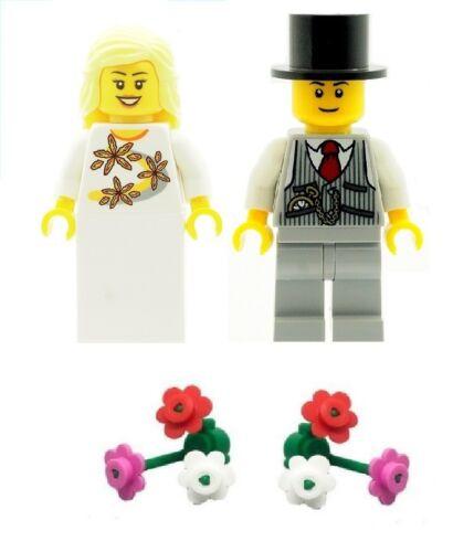 Lego Mariage Mariée et marié Minifigures avec 2 boquets de fleurs NEUF