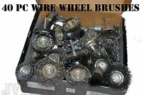 40pc Wire Wheel Brush Cup Assortment Crimped Steel 1/4 Shank Drills Rust Scale