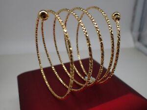 Dames-18ct-Jaune-Or-Solid-Spring-Bangle-Bracelet-65-mm