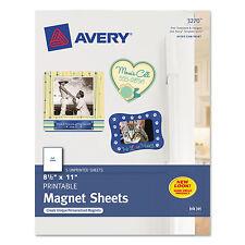 Avery Printable Inkjet Magnet Sheets 8 1/2 x 11 White 5/Pack 3270