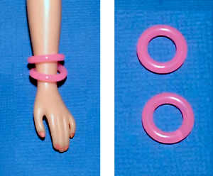 """Dreamz TWO NEON PINK BRACELET BANGLES SET of 2 made for 11/"""" Barbie Doll Jewelry"""