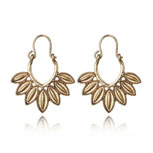 Damen Vintage Ohrringe Hohl Geschnitzte Blume Ohrhänger Silber Bohemian Schmuck