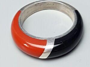 Vintage-Silber-Ring-925-punziert-rot-schwarz-Bakelit-RG-46-14-6-mm-A-805