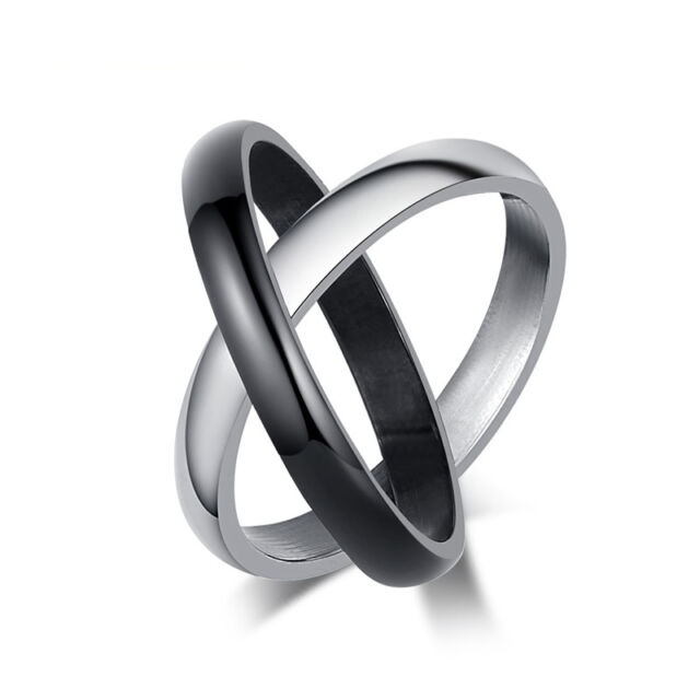Mens Multilayer Rings Huggie Smooth Stainless Steel 3mm Wide Engagement Fashion