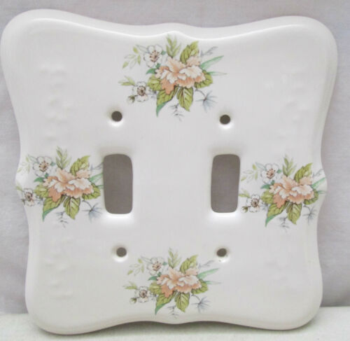 Vintage TH Athena USA Porcelain Double Light Switch Plate Cover White Flowers