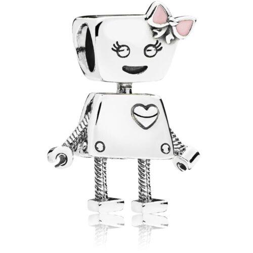 925 Silver Bella Bot pink Robot bow girl friend Charm fits European bracelets
