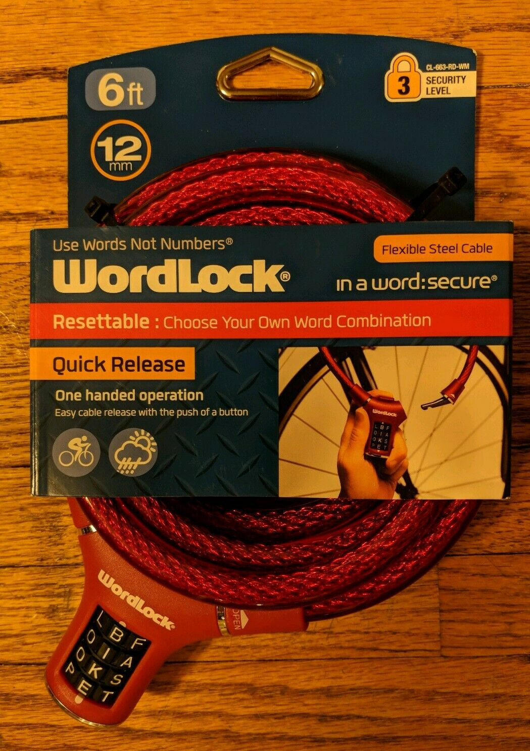 WORDLOCK Secure 6ft Resettable Combination Bike Chain Lock 10,000 Codes RED//BLK