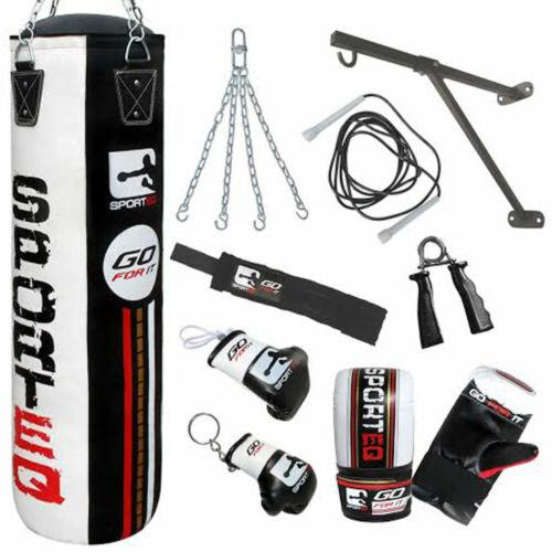 4ft Punchbag Set Gym Training Punch Bag Set, Sporteq Quality Heavy Duty Filled