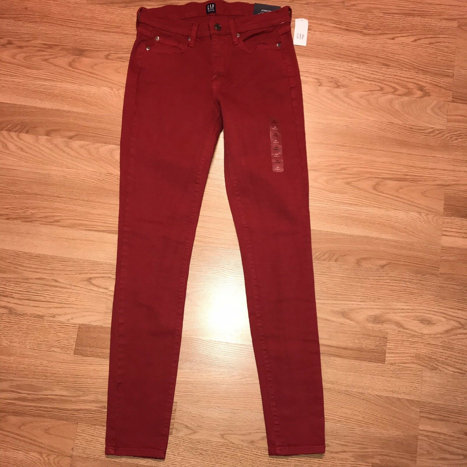 Gap Mid Rise True Skinny Jeans Size 24 Red Women's Stretch Nwt