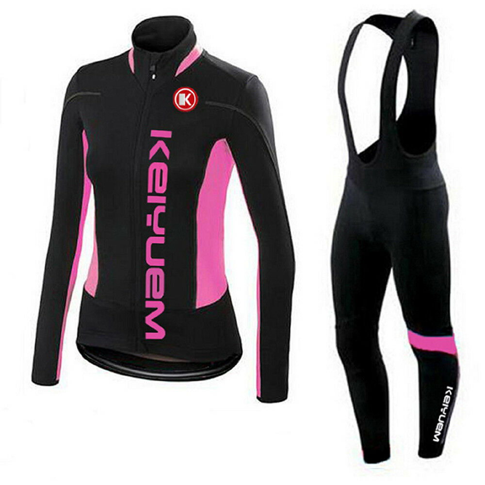 Women's Cycling Clothing Kit Long  Sleeve Jersey & Padded Bib Tights Set S-5XL  famous brand