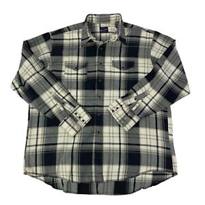 Wrangler-Mens-Size-XXL-2XL-Blue-amp-White-plaid-Long-Sleeve-Pearl-Snap-Shirt