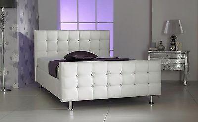 Faux Leather Luxury White Crystal Diamante Bed Extra Padding Swarovski Crystals