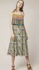 NEw-178-Anthropologie-Zavora-Beaded-Midi-Dress-By-Tanvi-Kedia-Ruffled-Size-Xs