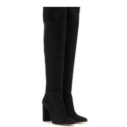 Details about  /Womens Ladies Pointy Toe Block Heels Over Knee Thigh High Boots 3 Colors Shoes