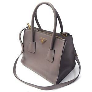ce8b9f77c05bed Authentic Prada Glace' Twin Leather Handbag w/Shoulder Strap 1BG625 ...