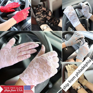Women-039-s-Summer-UV-proof-Driving-Gloves-Wedding-Bridal-Gloves-Short-Lace-Gloves