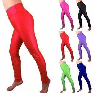 Womens Full Length Neon Gym Wear Pants Ladies High Waist Fitness ... 5a744f90a