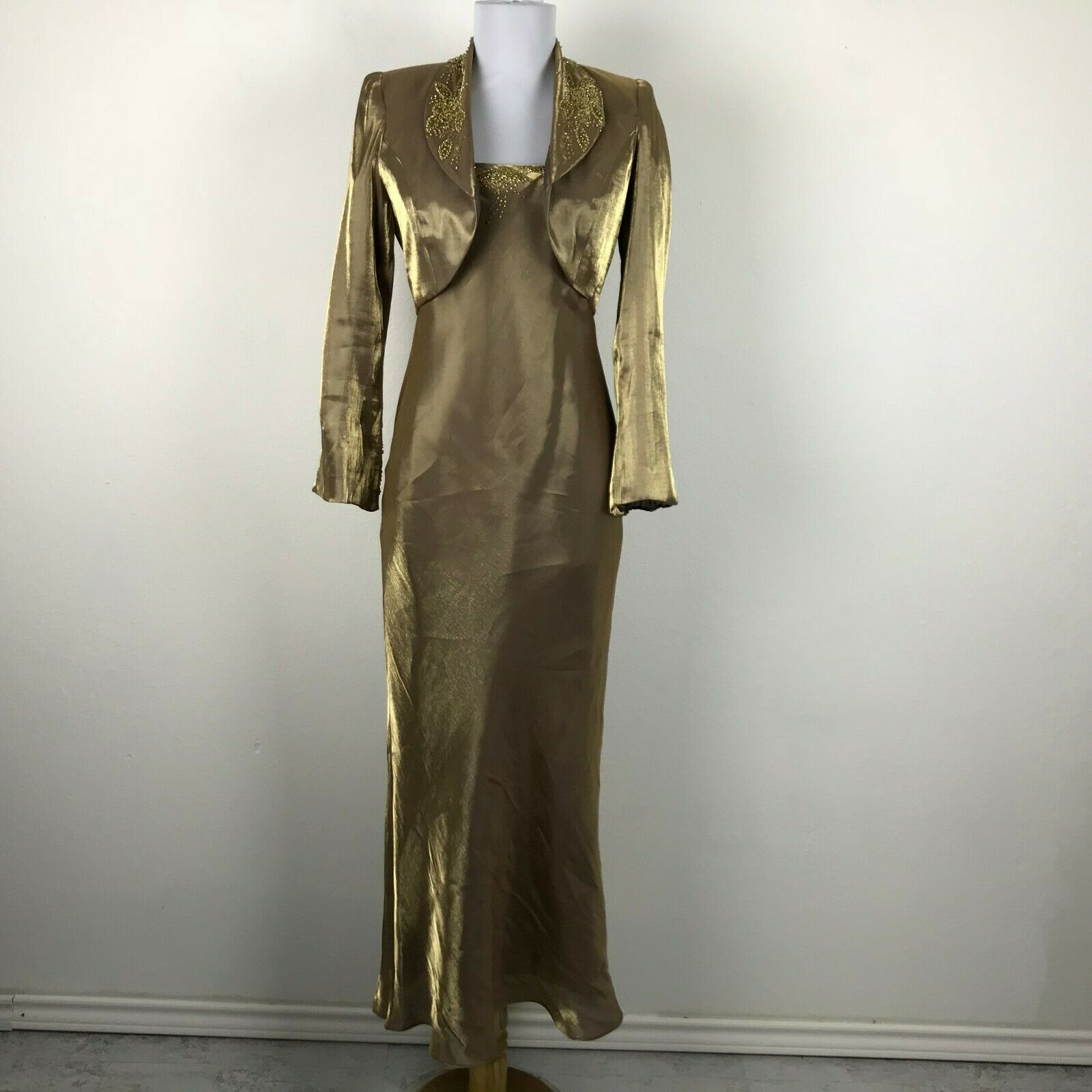 Alex Evenings Dress Gown Petite Sz 4P Formal Bolero braun Gold Sharkskin Beaded