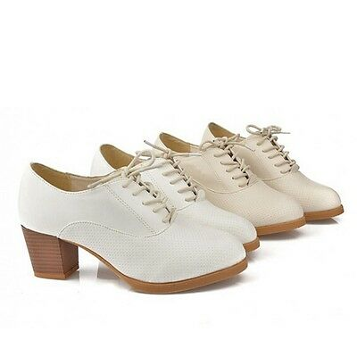 New Lady Shoes Faux Leather Chunky Block Heel Lace-Up Brogue Work Flats Pumps