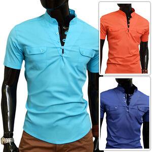 D-amp-r-Fashion-Hombre-Camisa-Informal-Colores-Vivos-Cuello-en-V